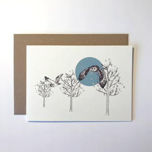 Flying Owl Greetings Card