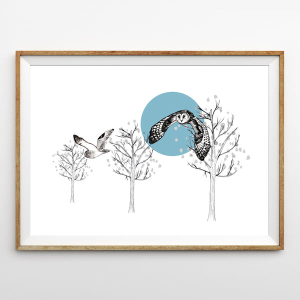 Flying Owl Print