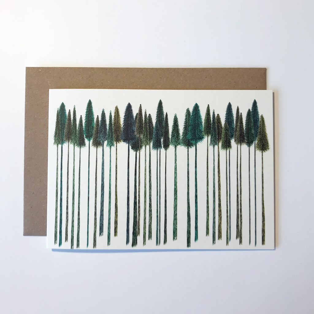 Green Trees Greetings Card
