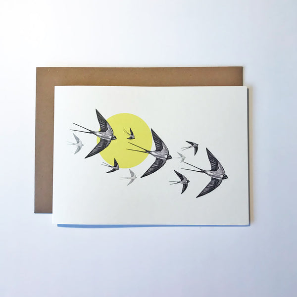 Yellow Swallows Greetings Card