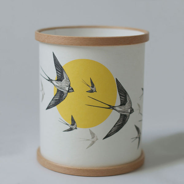 Yellow Swallows Candle Cover