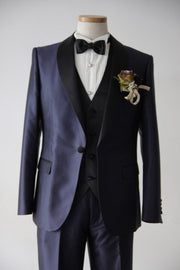 Short Navy Tuxedo | Navy×Black | Shawl Collar