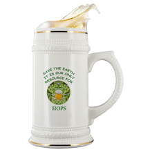 "Load image into Gallery viewer, ""Save the Earth-It Is Our Only Resource for Beer"" Hops behind a Glass of Frosty Beer - 22 oz Ceramic Beer Stein"