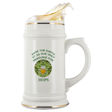 """Save the Earth-It Is Our Only Resource for Beer"" Hops behind a Glass of Frosty Beer - 22 oz Ceramic Beer Stein"