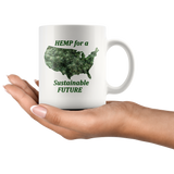 """Hemp for a Sustainable Future"" Hemp Flowers inside an outiline of the USA  - 11 oz. white ceramic mug"
