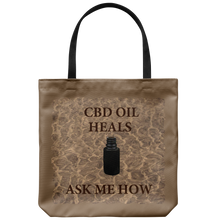"Load image into Gallery viewer, CBD Oil Heals Ask Me How-Brown Bottle on Copper Oil Background on 18"" Reusable Tote Bag"