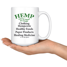 Load image into Gallery viewer, Hemp Can Be Use to Create Eco-friendly Items - 15 oz. white ceramic mug