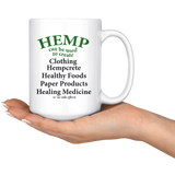 Hemp Can Be Use to Create Eco-friendly Items - 15 oz. white ceramic mug