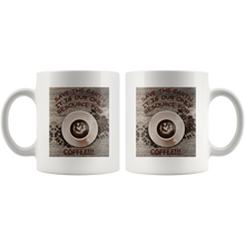 "Load image into Gallery viewer, ""Save the Earth-It Is Our Only Resource for Coffee"" Swirled Heart in a Cup of Coffee-11 oz. white ceramic mug"