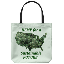 "Load image into Gallery viewer, ""Hemp for a Sustainable Future"" Hemp Flowers inside an outiline of the USA  on an 18"" Reusable Tote Bag"