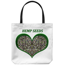 "Load image into Gallery viewer, Hemp Seeds framed in a Green Heart on an 18"" Reusable Tote Bag"