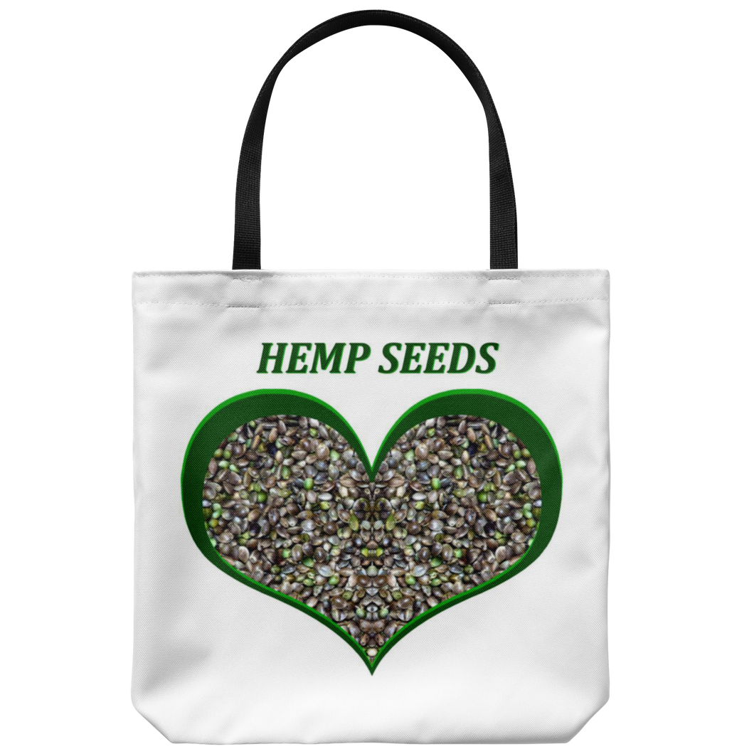 "Hemp Seeds framed in a Green Heart on an 18"" Reusable Tote Bag"