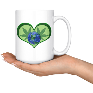Hemp Leaves and Planet Earth framed in a Green Heart - 15 oz. white ceramic mug