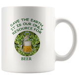 """Save the Earth-It Is Our Only Resource for Beer"" Hops behind Beer Stein -11 oz. white ceramic mug"