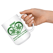 Load image into Gallery viewer, Hemp For Our Children's Future - 15 oz. white ceramic mug - 3 Hemp Leaves in a Green Heart