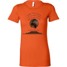 "Load image into Gallery viewer, ""Save the Earth for Chocolate"" Melting Cacao Earth Women's Shirt"