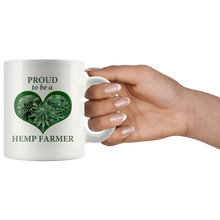 Load image into Gallery viewer, Proud To Be A Hemp Farmer - 11 oz White Ceramic Mug with Hemp Bud in a Green Heart