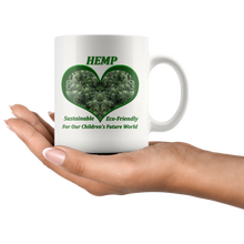 Load image into Gallery viewer, Hemp For Our Children's Future - 11 oz. white ceramic mug - Hemp Flowering Plants Ready for Harvest in a Green Heart