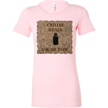 "Load image into Gallery viewer, ""CBD Oil Heals Ask Me How"" Brown Bottle on Copper Oil Background Womens Shirt"