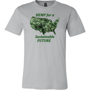 Hemp For Sustainable Future-Flowering Hemp Plants Floating in Outline of USA
