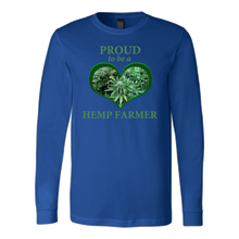 "Load image into Gallery viewer, ""Proud to be a Hemp Farmer"" Hemp in Green Heart Long Sleeve Shirt"
