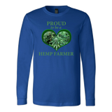 """Proud to be a Hemp Farmer"" Hemp in Green Heart Long Sleeve Shirt"