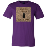 """CBD Oil Heals Ask Me How"" Brown Bottle on Copper Oil Background T-Shirt"