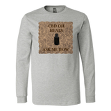 """CBD Oil Heals Ask Me How"" Brown Bottle on Copper Oil Background Long Sleeve T-Shirt"