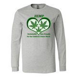 Hemp for Sustainable Future for Children - 3 Leaves Floating in Green Heart