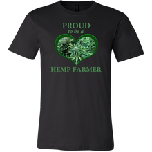 "Load image into Gallery viewer, ""Proud to be a Hemp Farmer"" Hemp in Green Heart T-shirt"