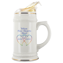 Load image into Gallery viewer, Two Hearts Meet Love is-22oz Ceramic Stein