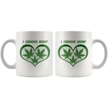 "Load image into Gallery viewer, ""I Choose Hemp"" Hemp Leaves framed in a Green Heart  - 11 oz. white ceramic mug"