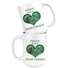 Load image into Gallery viewer, Proud To Be A Hemp Farmer - 15 oz White Ceramic Mug with Hemp Bud in a Green Heart