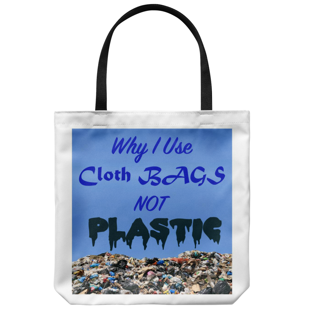 "Dramatic image on an 18"" Reusuable Tote Bag Suggests Why Use Cloth Bags to Protect Mother Earth's Environment"