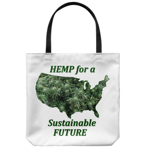 """Hemp for a Sustainable Future"" Hemp Flowers inside an outiline of the USA  on an 18"" Reusable Tote Bag"