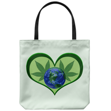 "Load image into Gallery viewer, Hemp Leaves behind Planet Earth framed in a Green Heart on an 18"" Reusable Tote Ba"