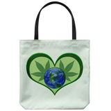 "Hemp Leaves behind Planet Earth framed in a Green Heart on an 18"" Reusable Tote Ba"