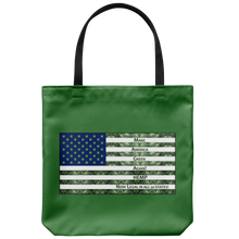 "Load image into Gallery viewer, Hemp is Legal in 50 States-Hemp Flowers inside outiline of USA Flag on 18"" Reusable Tote Bag"