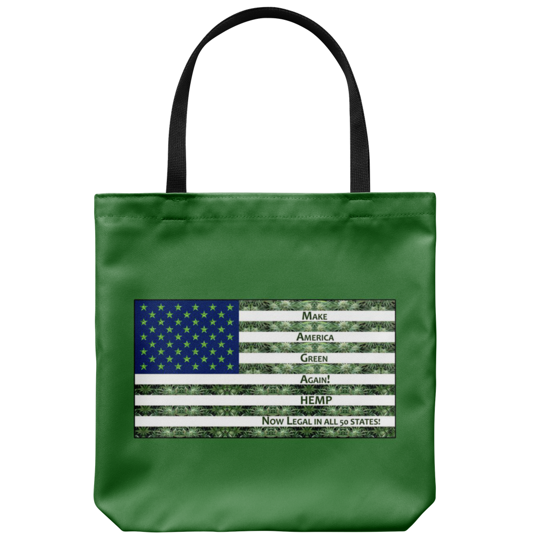 "Hemp is Legal in 50 States-Hemp Flowers inside outiline of USA Flag on 18"" Reusable Tote Bag"