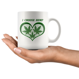 """I Choose Hemp"" Hemp Leaves framed in a Green Heart  - 11 oz. white ceramic mug"