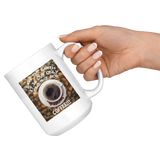 """Save the Earth-It Is Our Only Resource for Coffee"" Cup of Coffee above Coffee Beans-15 oz. white ceramic mug"