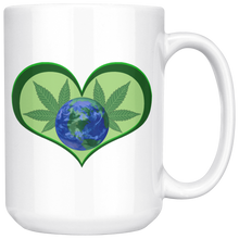 Load image into Gallery viewer, Hemp Leaves and Planet Earth framed in a Green Heart - 15 oz. white ceramic mug