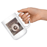"""Save the Earth-It Is Our Only Resource for Coffee"" Swirled Heart in a Cup of Coffee-15 oz. white ceramic mug"