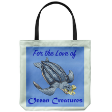 "Load image into Gallery viewer, ""For the Love of Ocean Creatures"" Suggesting a Way to Help Sea Turtles Avoid Eating Plastic on an 18"" Reusable Tote Bag"
