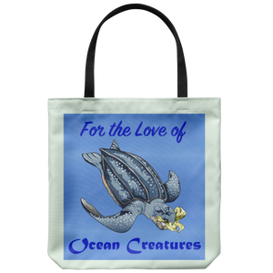 """For the Love of Ocean Creatures"" Suggesting a Way to Help Sea Turtles Avoid Eating Plastic on an 18"" Reusable Tote Bag"