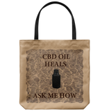 "CBD Oil Heals Ask Me How-Brown Bottle on Copper Oil Background on 18"" Reusable Tote Bag"