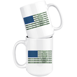 Hemp For a Sustainable - 15oz White Coffee Mug - Hemp Leaves Behind American Flag