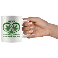 Load image into Gallery viewer, Hemp For Our Children's Future - 11 oz. white ceramic mug - 3 Hemp Leaves in a Green Heart