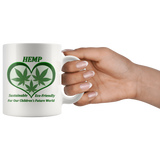 Hemp For Our Children's Future - 11 oz. white ceramic mug - 3 Hemp Leaves in a Green Heart