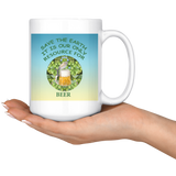 """Save the Earth-It Is Our Only Resource for Beer"" Hops behind Beer Stein -15 oz. white ceramic mug"